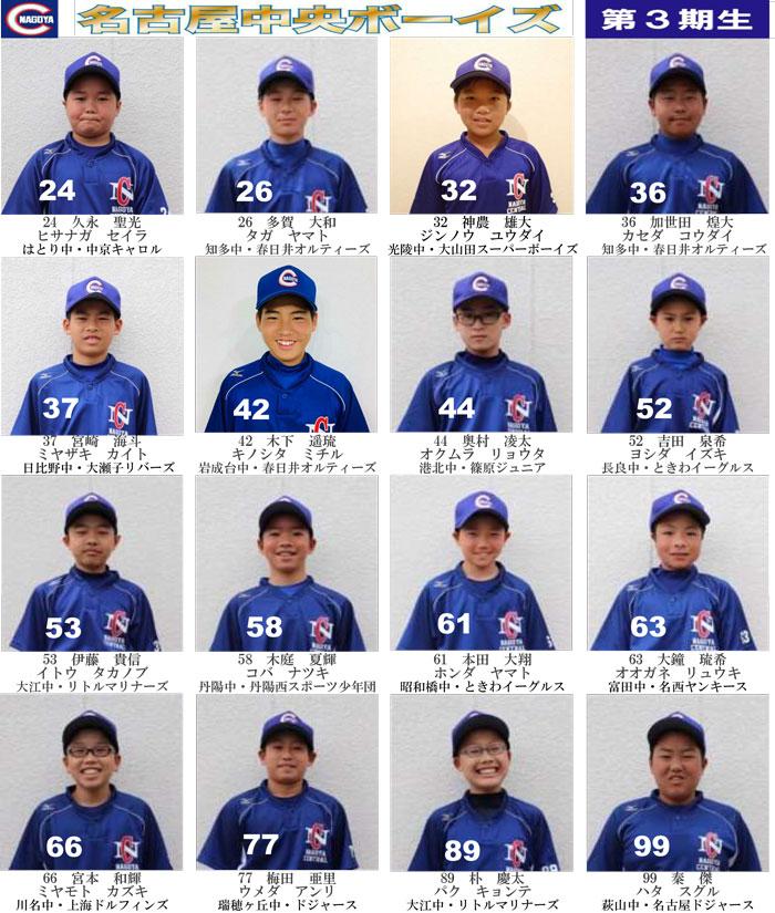 名古屋中央ボーイズの3期生一覧写真